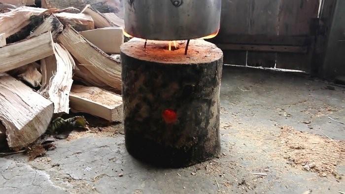 Походная печь из бревна, способная гореть больше 6 часов