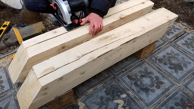 Очень простой способ сделать стол из 150-го бруса: делаем своими руками