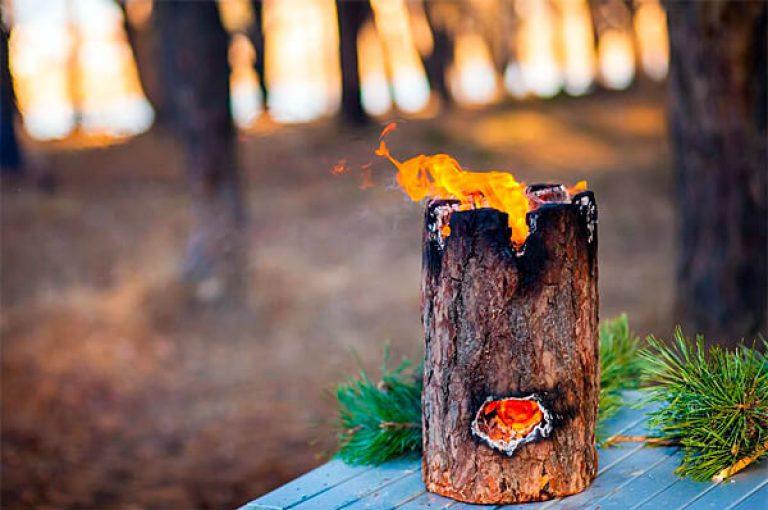 """Печь из полена : или как сделать """"Финскую свечу""""за 5 минут"""