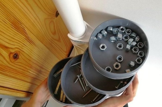 Органайзер в мастерскую из пластиковых труб