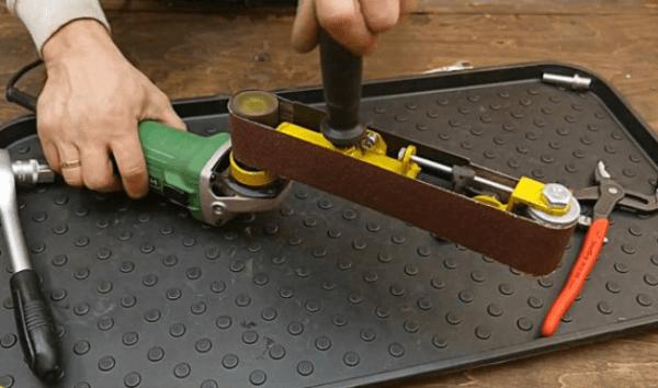 Как сделать ленточный шлифовальный адаптер для болгарки