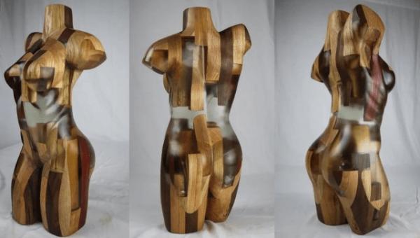 Скульптура из дерева и эпоксидной смолы