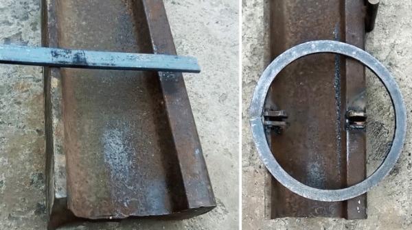 Как согнуть стальную полосу на ребро и сделать кольцо