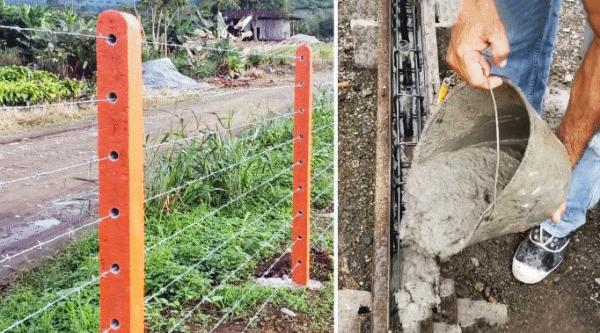 Как изготовить железобетонные столбы и установить светопроницаемое ограждение участка