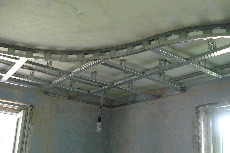 каркас многоуровневого потолка из гипсокартона
