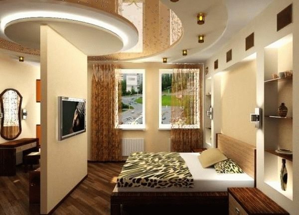 Перегородки из гипсокартона для зонирования пространства в комнате