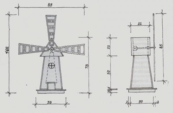 Декоративная мельница для сада своими руками чертежи фото 613