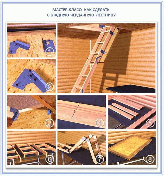 Механизм складной пружинный лестницы сделать