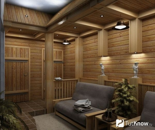Отделка комнаты отдыха в бане камнем